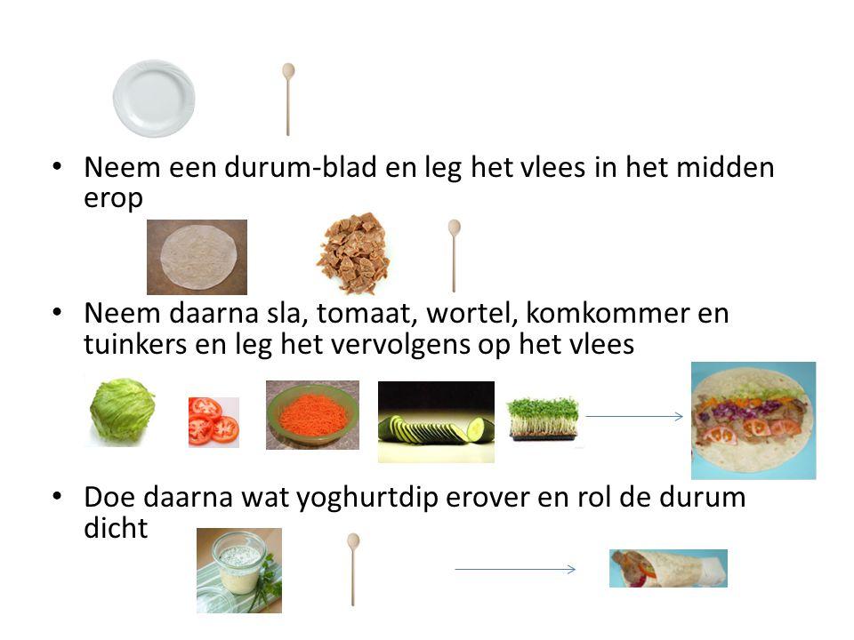 Neem een durum-blad en leg het vlees in het midden erop