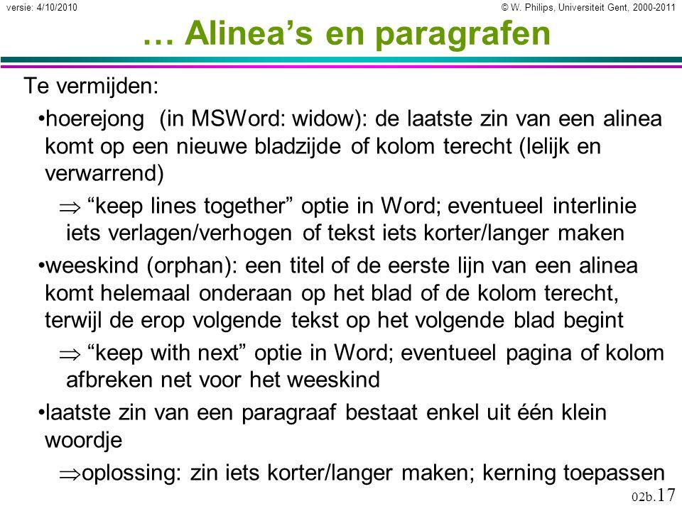 … Alinea's en paragrafen