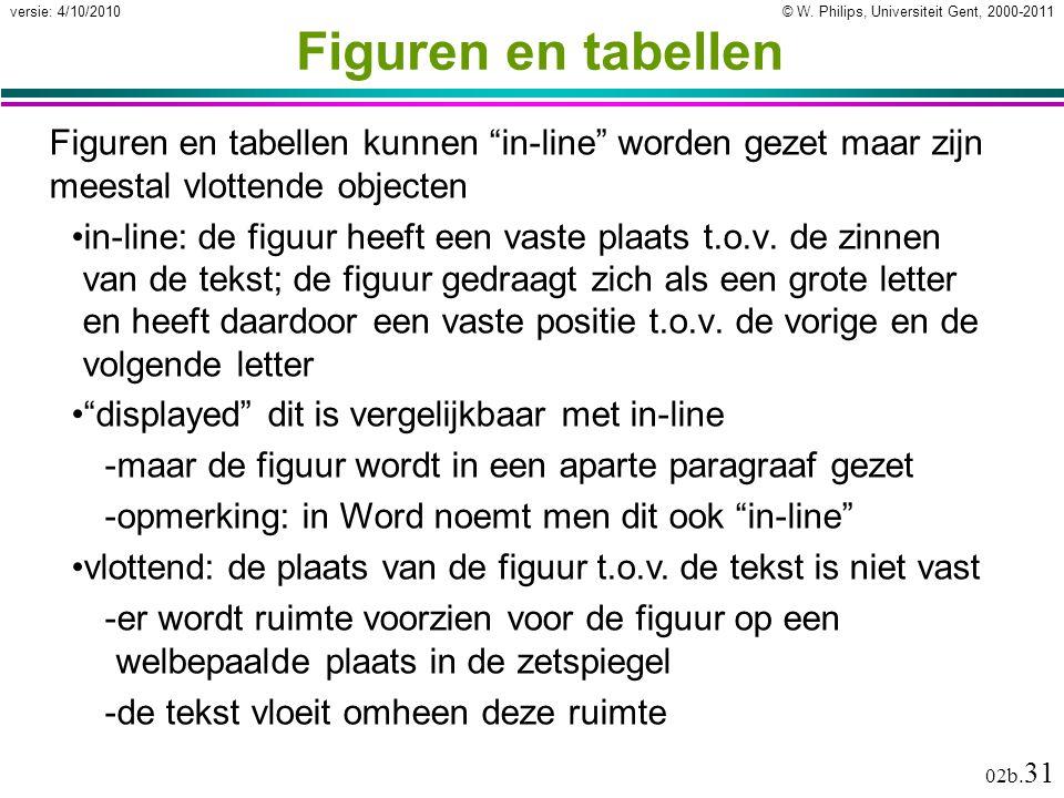 Figuren en tabellen Figuren en tabellen kunnen in-line worden gezet maar zijn meestal vlottende objecten.