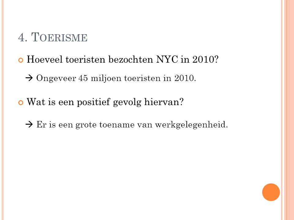 4. Toerisme Hoeveel toeristen bezochten NYC in 2010
