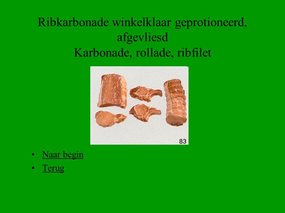 Ribkarbonade winkelklaar geprotioneerd, afgevliesd Karbonade, rollade, ribfilet
