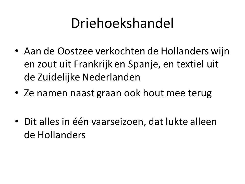 Driehoekshandel Aan de Oostzee verkochten de Hollanders wijn en zout uit Frankrijk en Spanje, en textiel uit de Zuidelijke Nederlanden.