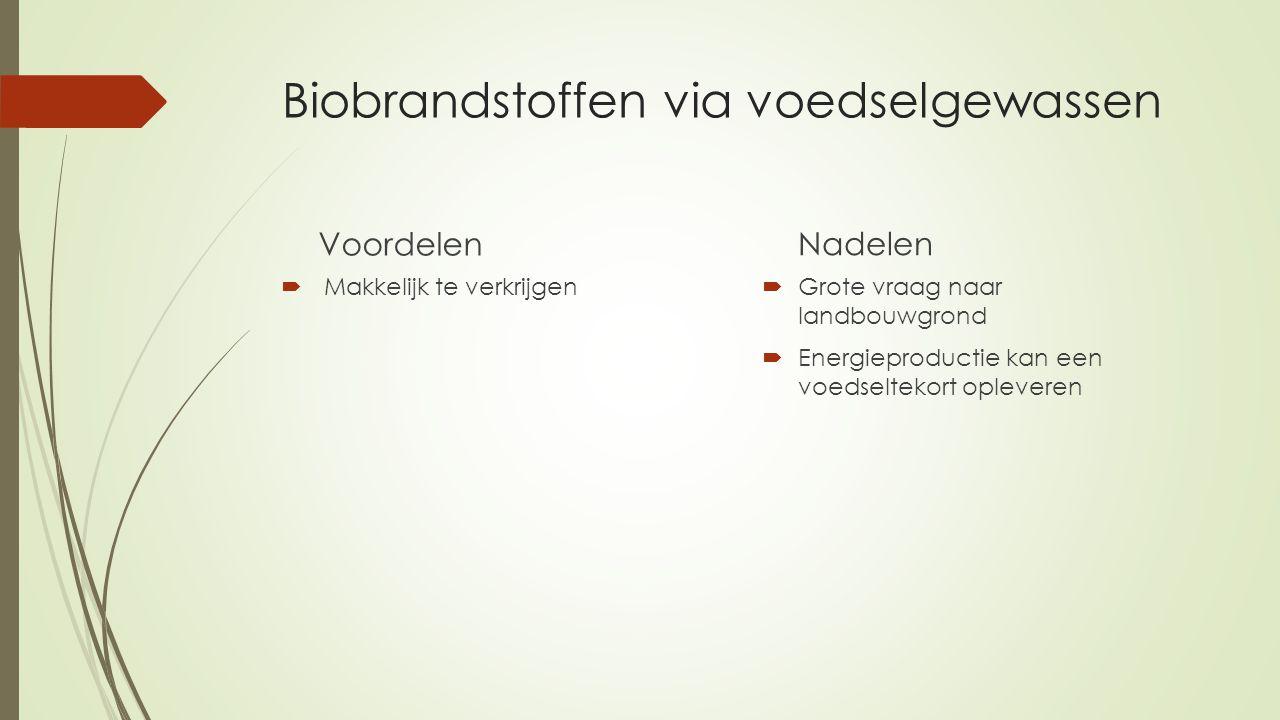 Biobrandstoffen via voedselgewassen