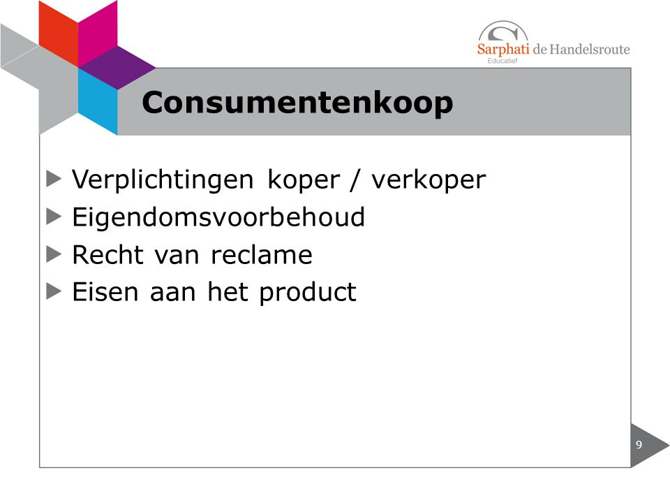 Consumentenkoop Verplichtingen koper / verkoper Eigendomsvoorbehoud