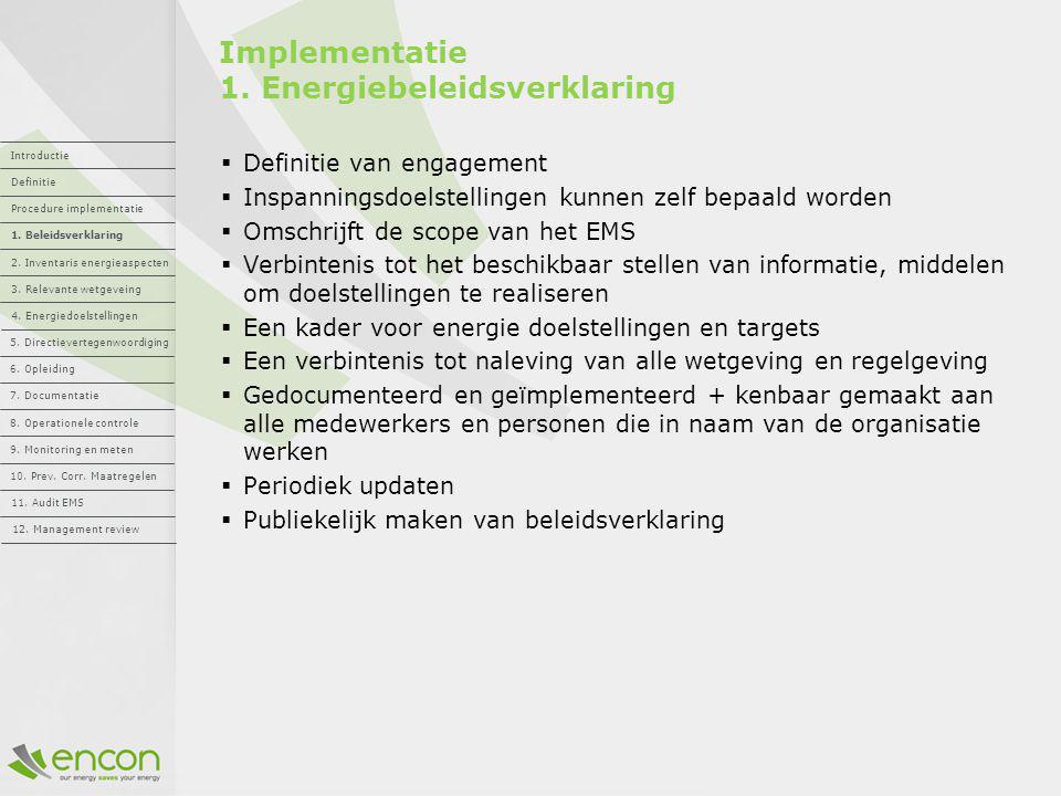 Implementatie 1. Energiebeleidsverklaring