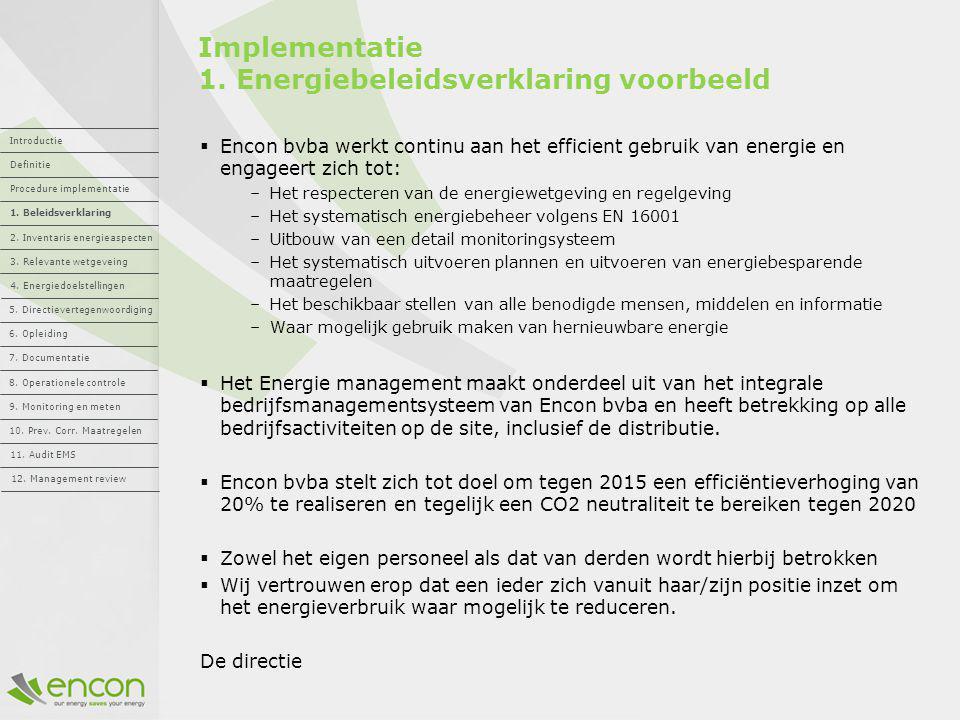 Implementatie 1. Energiebeleidsverklaring voorbeeld