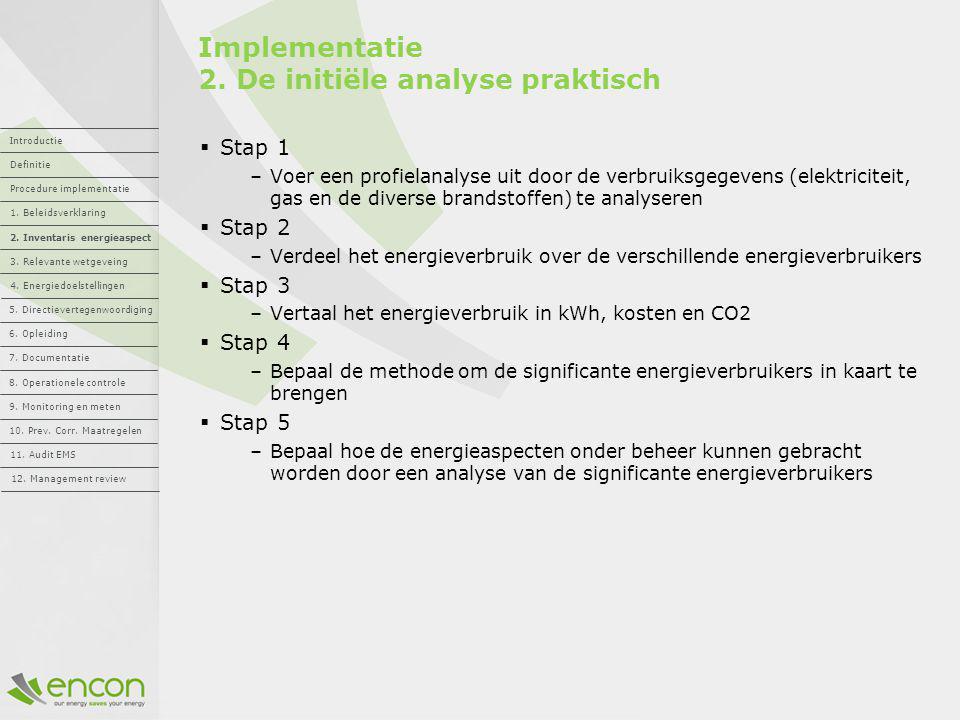 Implementatie 2. De initiële analyse praktisch