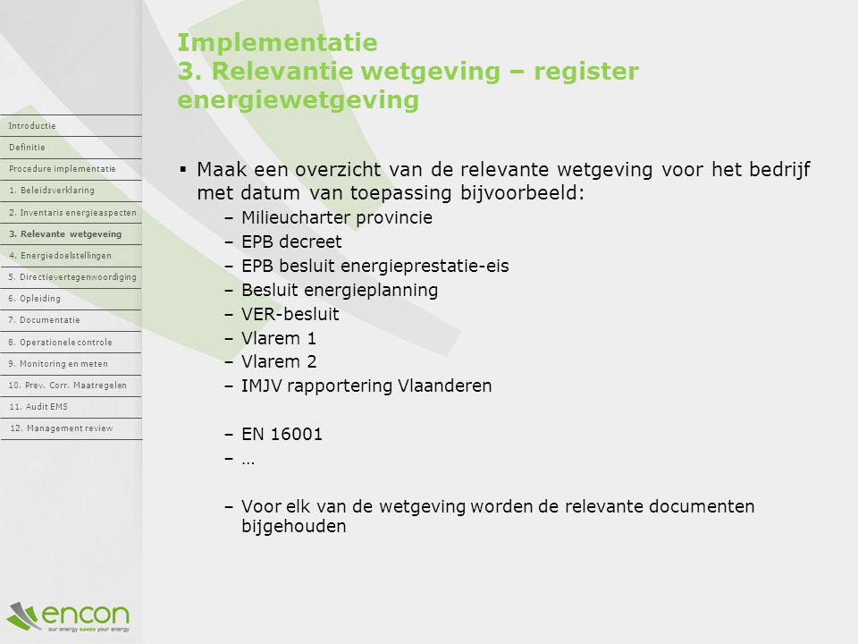 Implementatie 3. Relevantie wetgeving – register energiewetgeving
