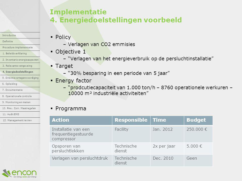 Implementatie 4. Energiedoelstellingen voorbeeld