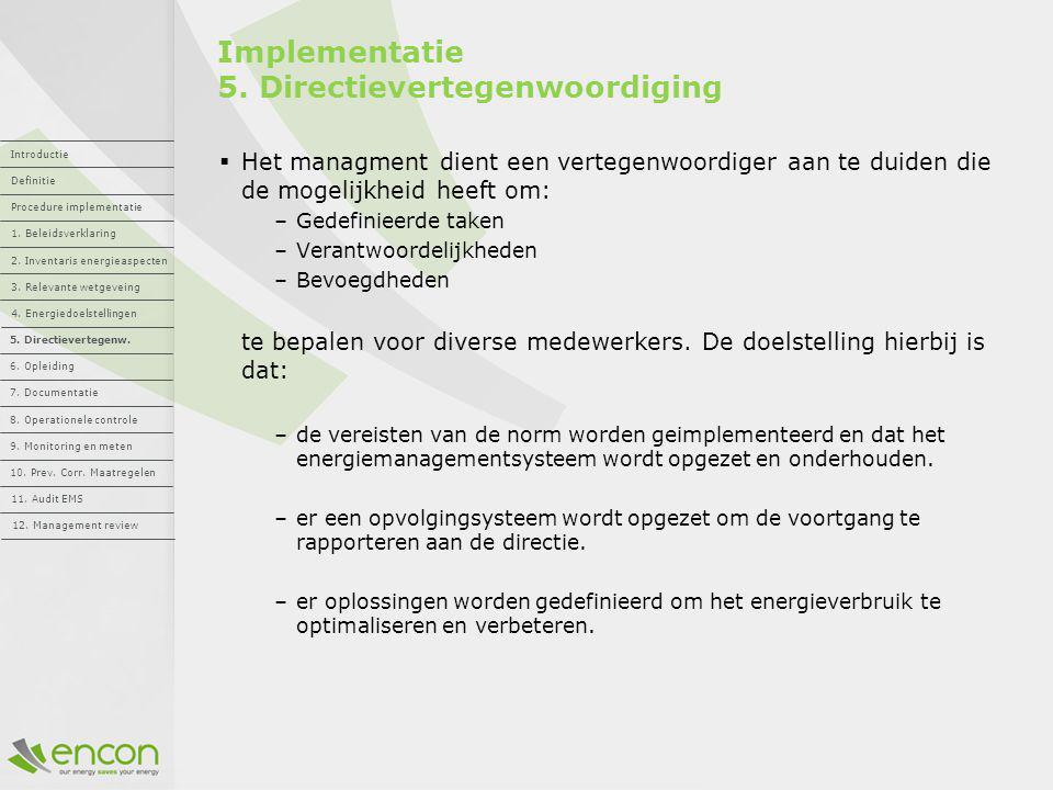 Implementatie 5. Directievertegenwoordiging