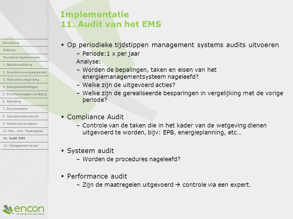 Implementatie 11. Audit van het EMS