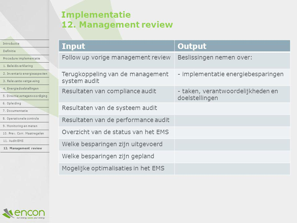 Implementatie 12. Management review