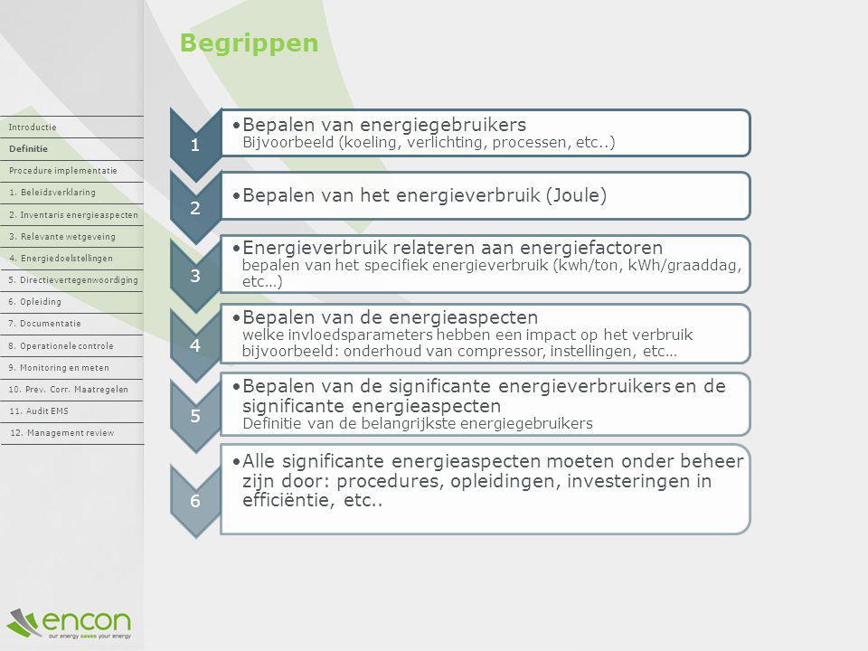 Begrippen 1. Bepalen van energiegebruikers Bijvoorbeeld (koeling, verlichting, processen, etc..) 2.