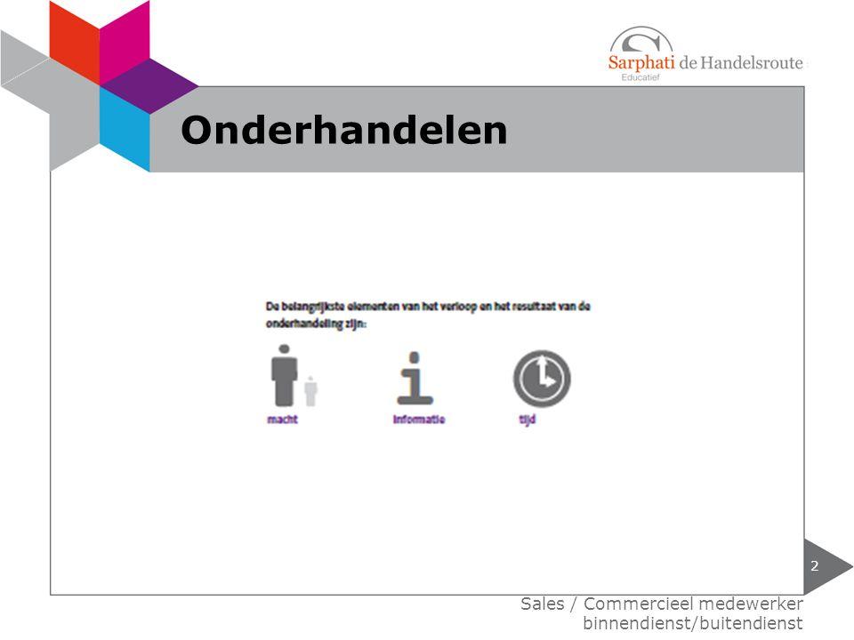 Onderhandelen Sales / Commercieel medewerker binnendienst/buitendienst