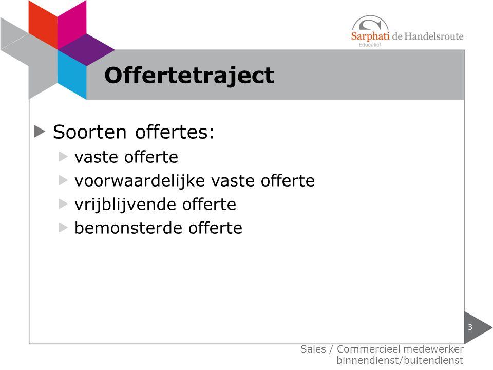 Offertetraject Soorten offertes: vaste offerte