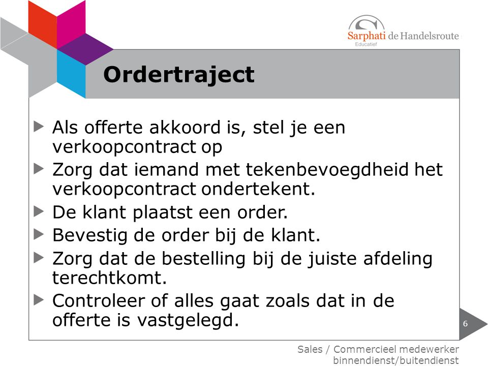 Ordertraject Als offerte akkoord is, stel je een verkoopcontract op