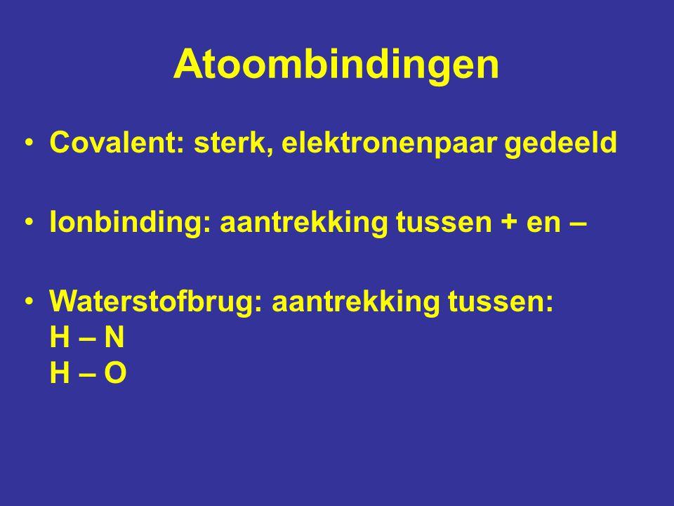 Atoombindingen Covalent: sterk, elektronenpaar gedeeld
