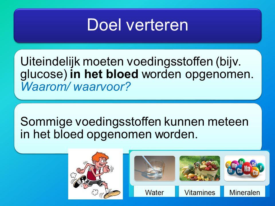 Doel verteren Uiteindelijk moeten voedingsstoffen (bijv. glucose) in het bloed worden opgenomen. Waarom/ waarvoor