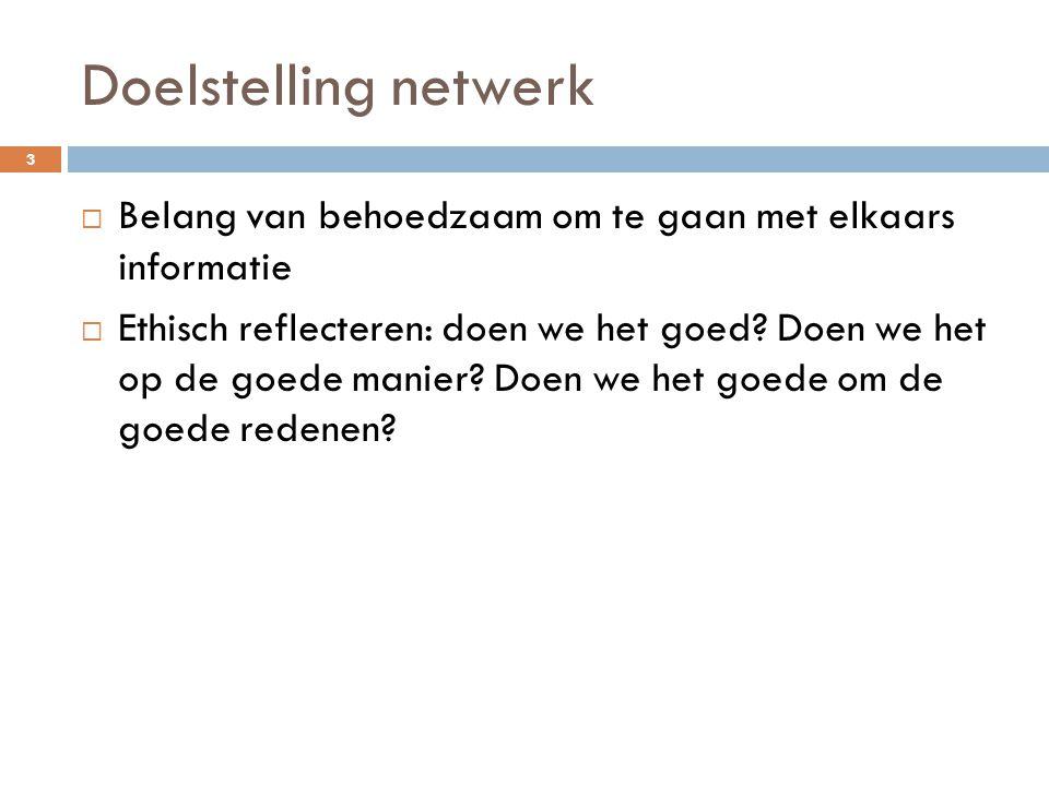 Doelstelling netwerk Belang van behoedzaam om te gaan met elkaars informatie.