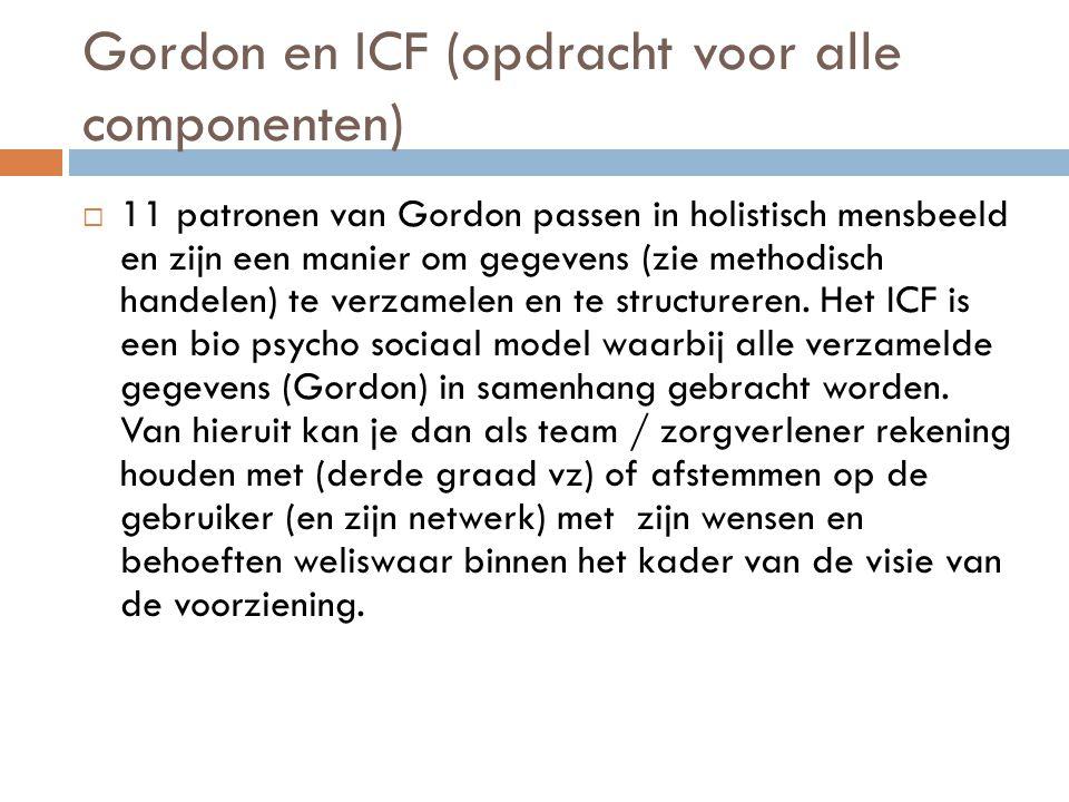 Gordon en ICF (opdracht voor alle componenten)
