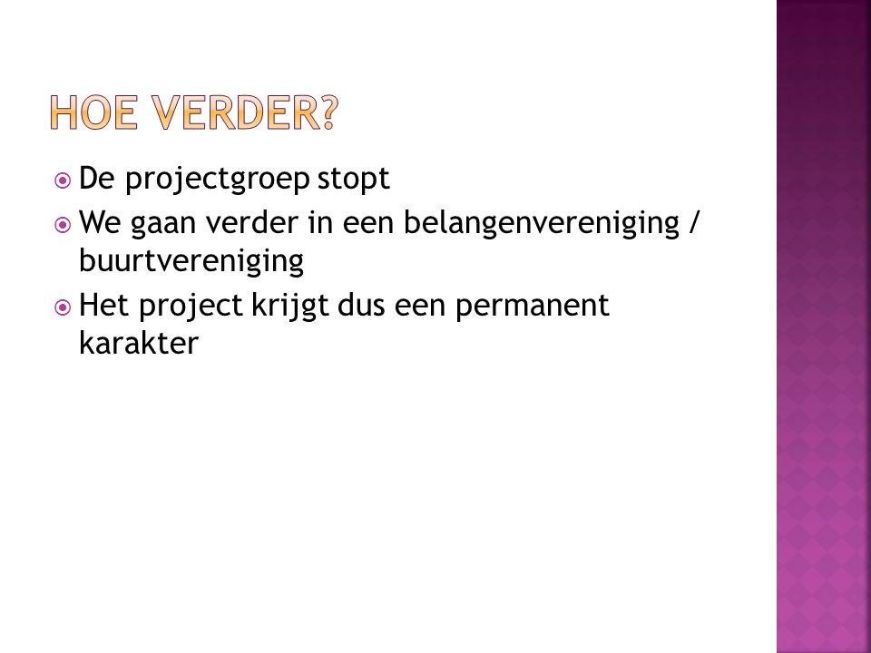 Hoe verder De projectgroep stopt