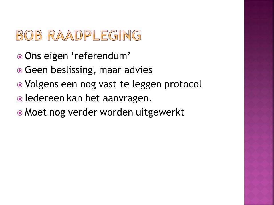 Bob raadpleging Ons eigen 'referendum' Geen beslissing, maar advies
