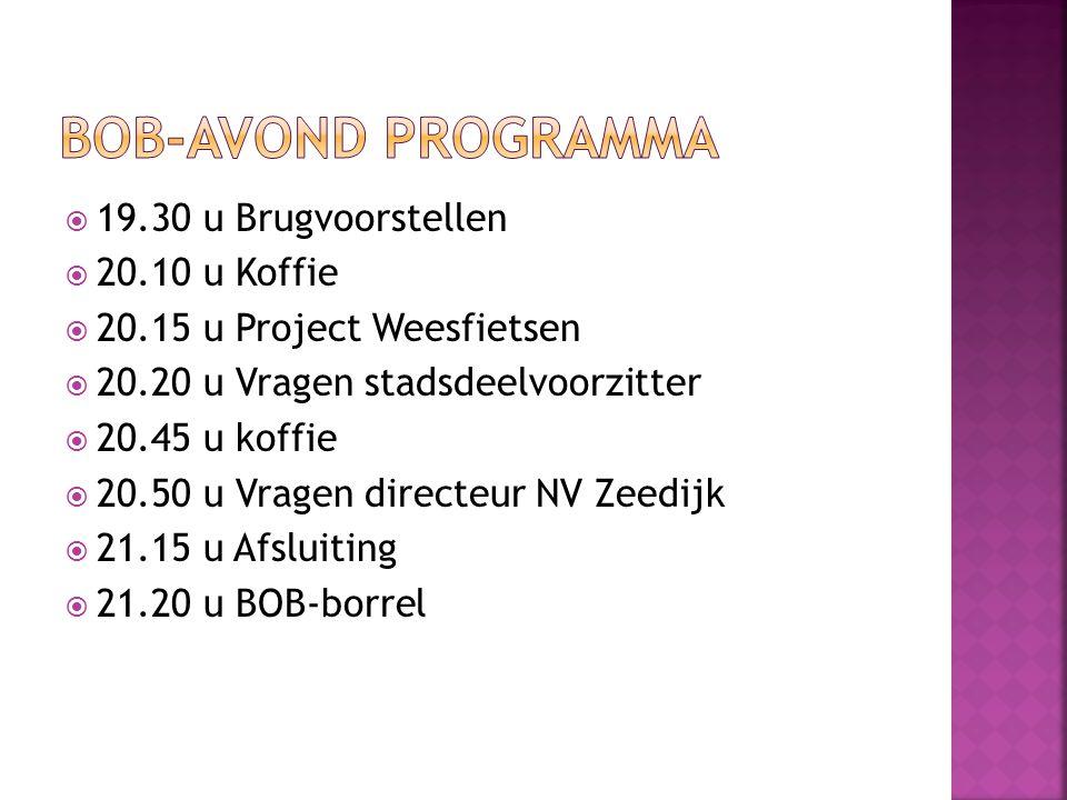 BOB-avond programma 19.30 u Brugvoorstellen 20.10 u Koffie