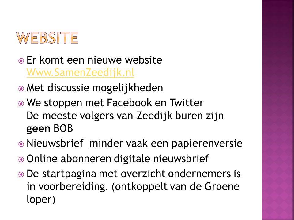 Website Er komt een nieuwe website Www.SamenZeedijk.nl
