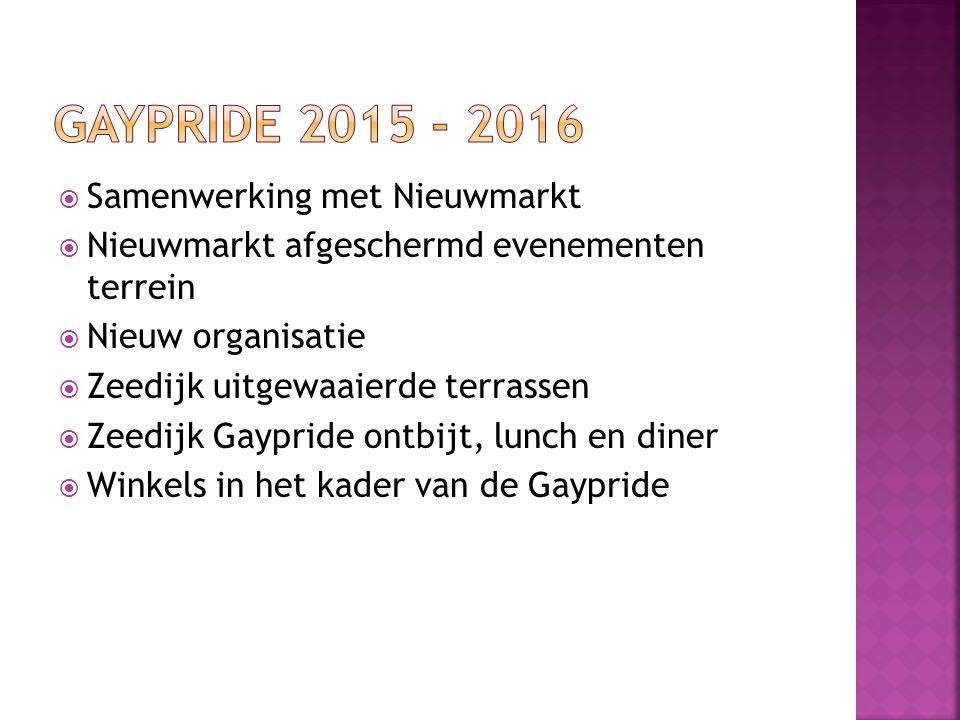 Gaypride 2015 - 2016 Samenwerking met Nieuwmarkt