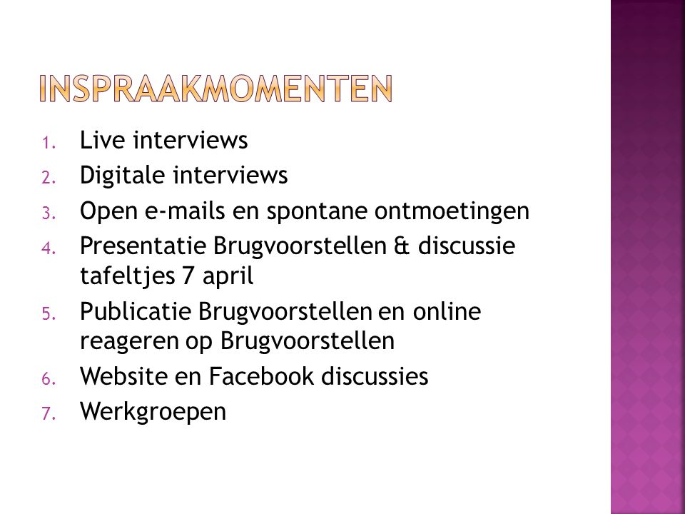 inspraakmomenten Live interviews Digitale interviews