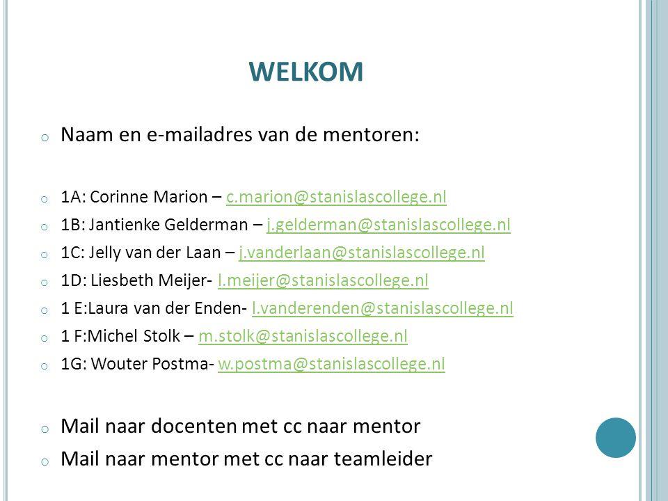 welkom Naam en e-mailadres van de mentoren:
