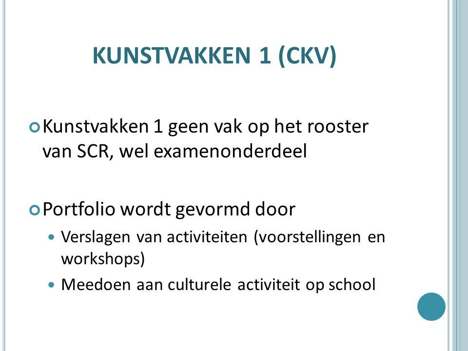 KUNSTVAKKEN 1 (CKV) Kunstvakken 1 geen vak op het rooster van SCR, wel examenonderdeel. Portfolio wordt gevormd door.