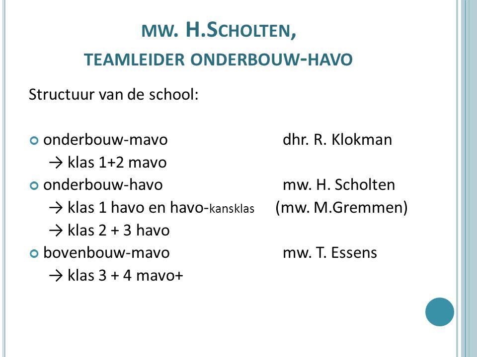 mw. H.Scholten, teamleider onderbouw-havo