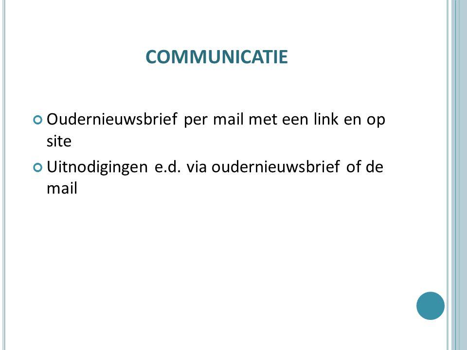 communicatie Oudernieuwsbrief per mail met een link en op site
