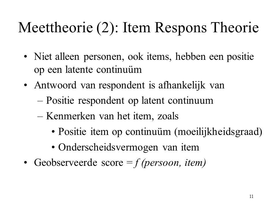 Meettheorie (2): Item Respons Theorie