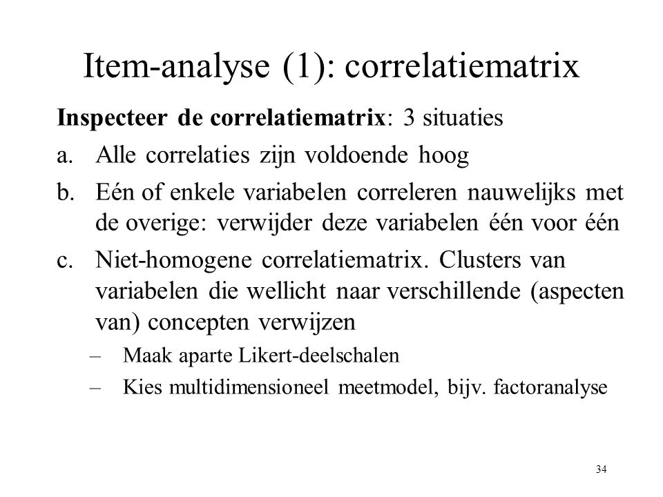 Item-analyse (1): correlatiematrix