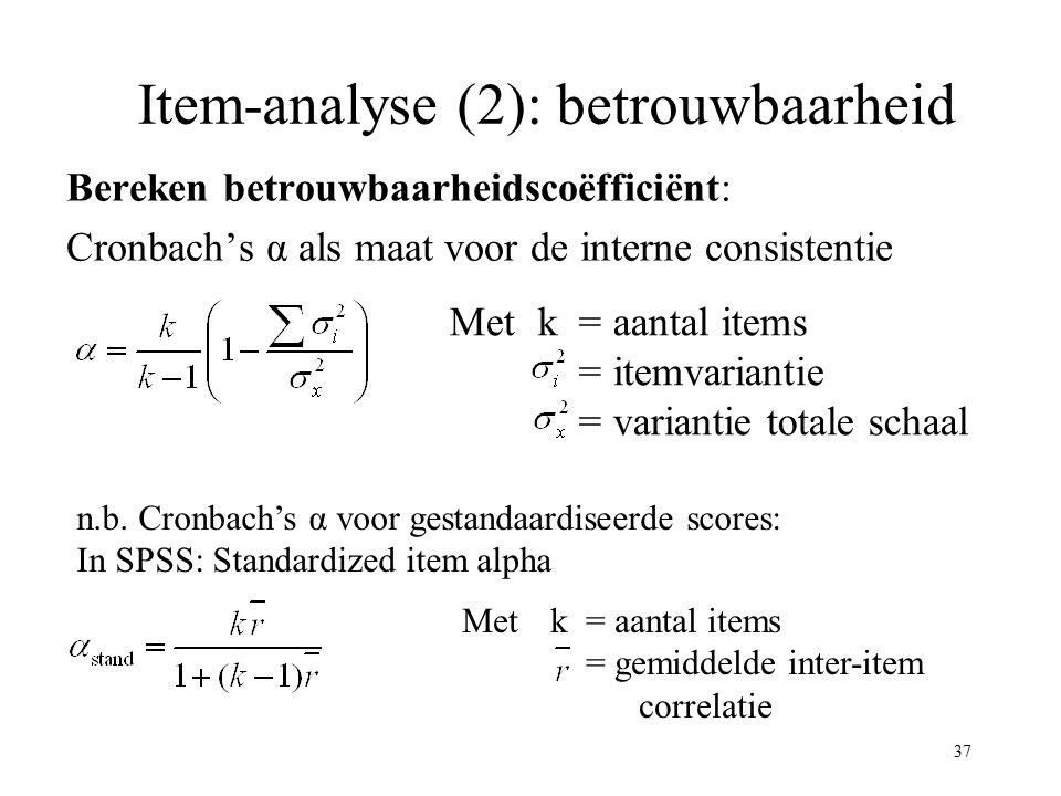 Item-analyse (2): betrouwbaarheid