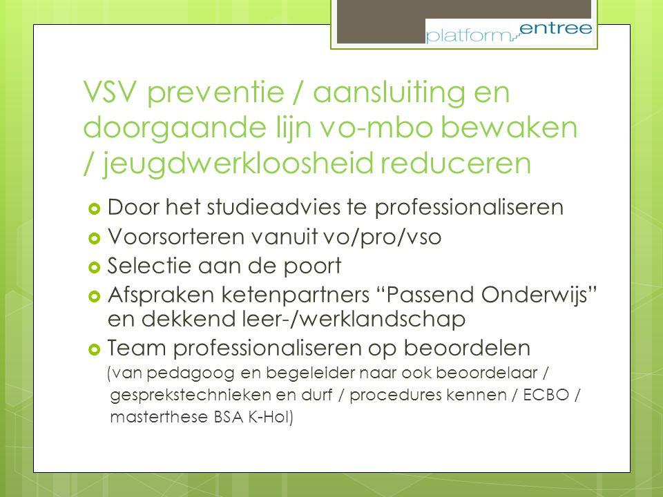 VSV preventie / aansluiting en doorgaande lijn vo-mbo bewaken / jeugdwerkloosheid reduceren