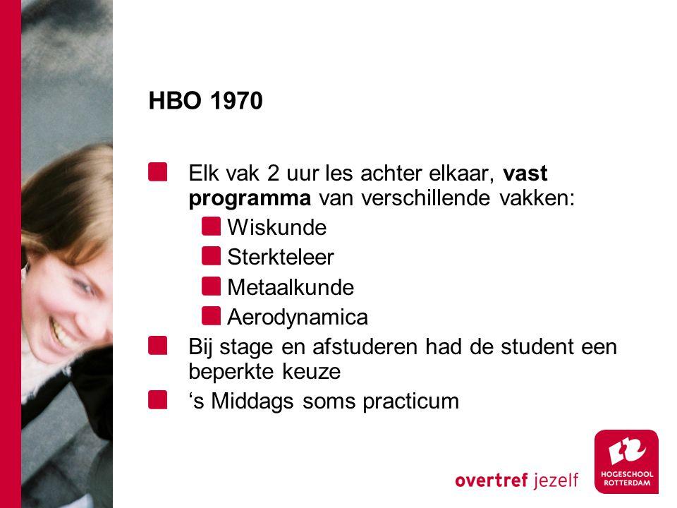 HBO 1970 Elk vak 2 uur les achter elkaar, vast programma van verschillende vakken: Wiskunde. Sterkteleer.