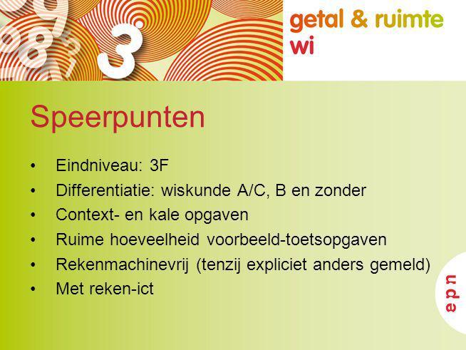 Speerpunten Eindniveau: 3F Differentiatie: wiskunde A/C, B en zonder