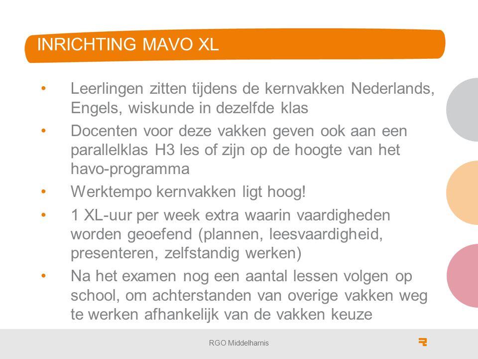 INRICHTING MAVO XL Leerlingen zitten tijdens de kernvakken Nederlands, Engels, wiskunde in dezelfde klas.