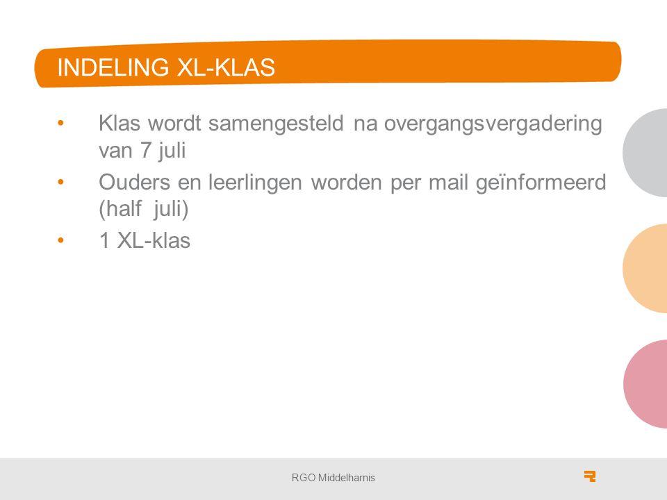 INDELING XL-KLAS Klas wordt samengesteld na overgangsvergadering van 7 juli. Ouders en leerlingen worden per mail geïnformeerd (half juli)