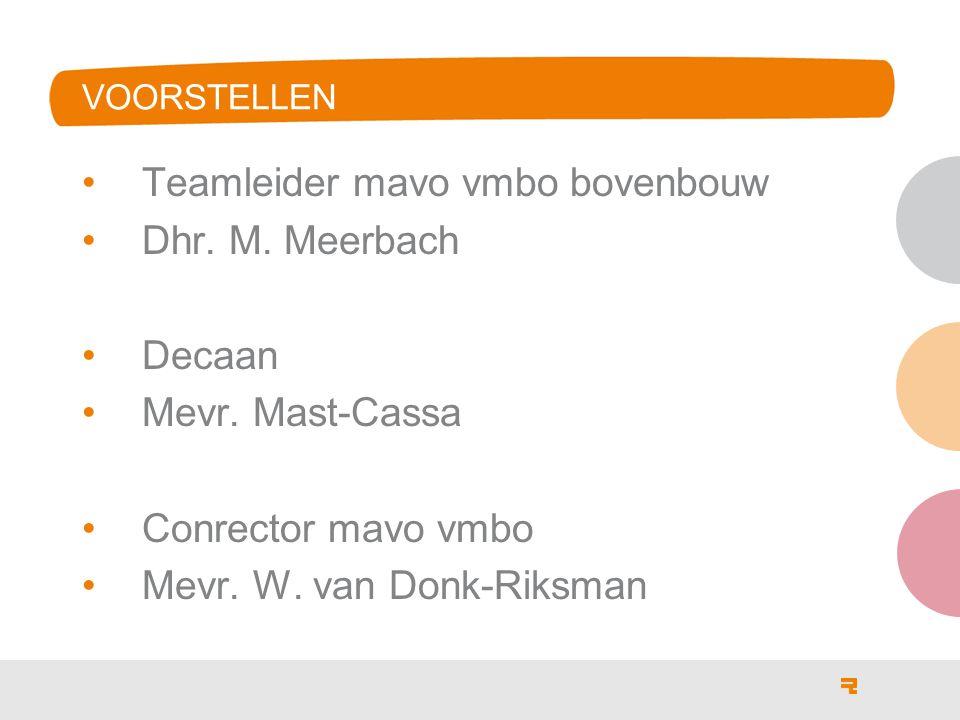 Teamleider mavo vmbo bovenbouw Dhr. M. Meerbach Decaan