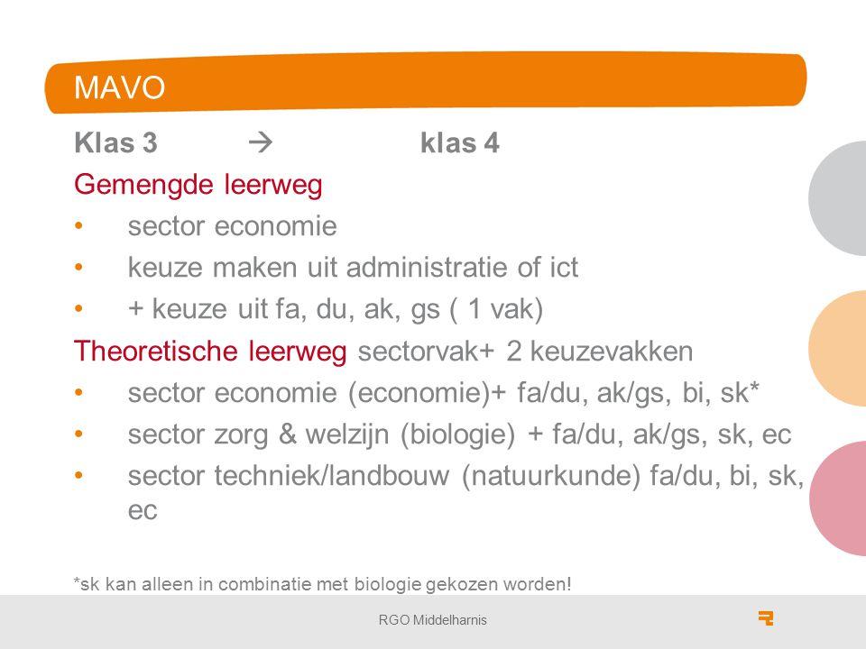 MAVO Klas 3  klas 4 Gemengde leerweg sector economie