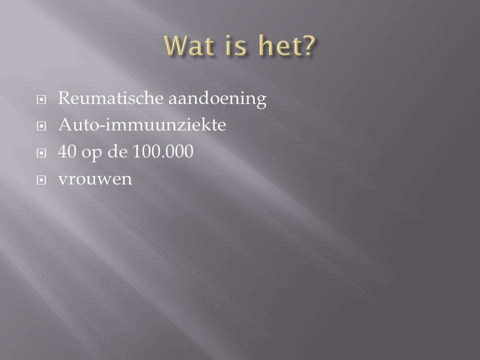 Wat is het Reumatische aandoening Auto-immuunziekte 40 op de 100.000