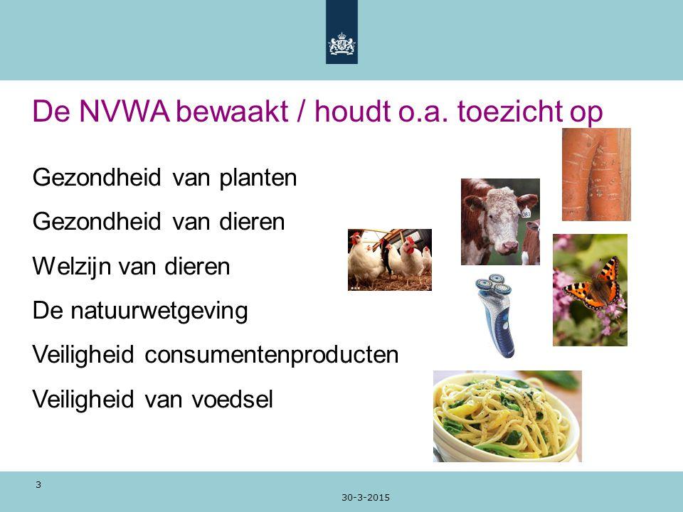 De NVWA bewaakt / houdt o.a. toezicht op
