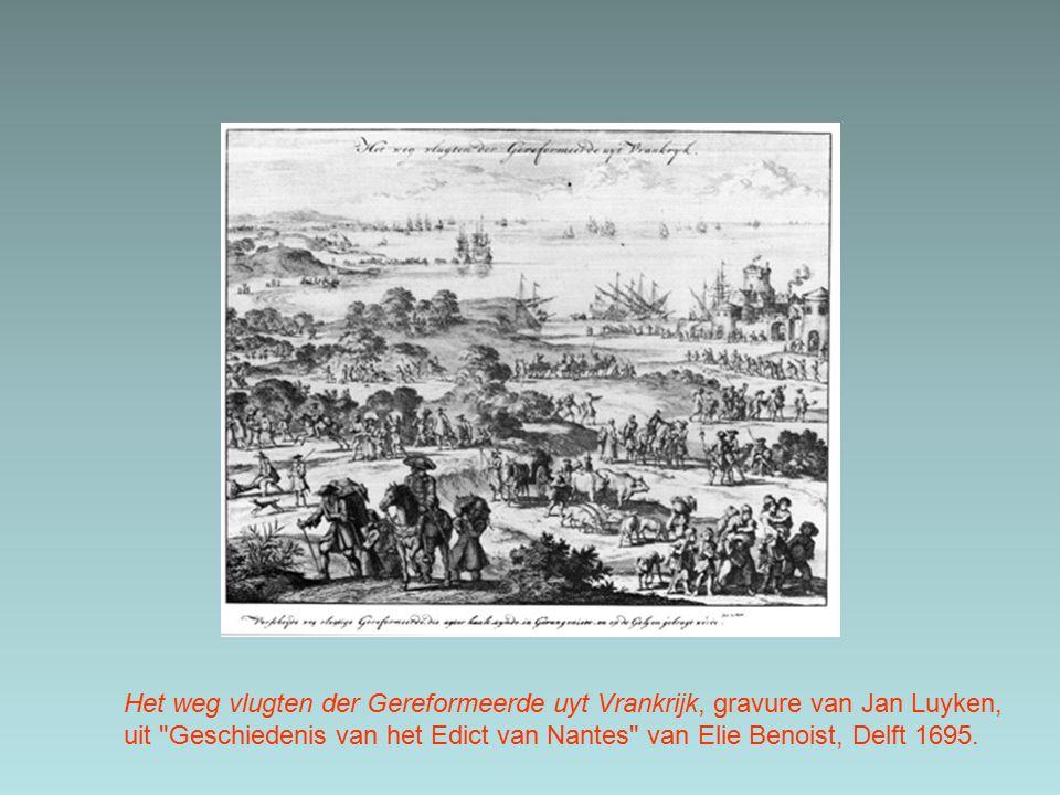 Het weg vlugten der Gereformeerde uyt Vrankrijk, gravure van Jan Luyken,