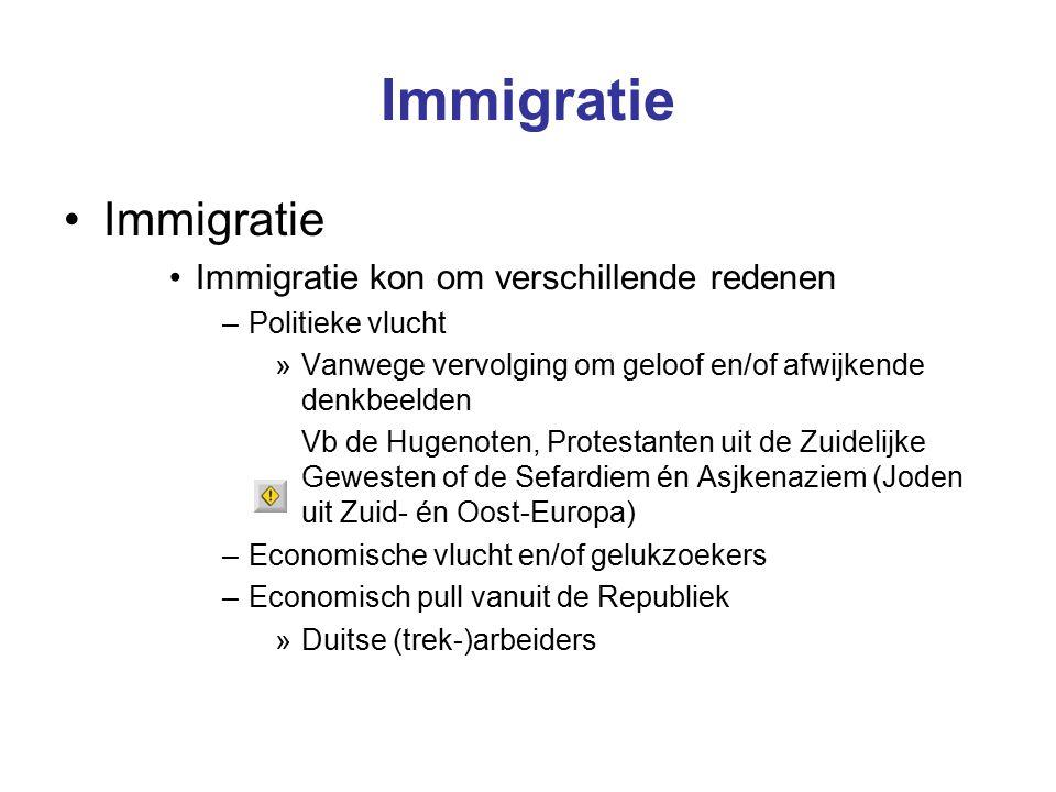 Immigratie Immigratie Immigratie kon om verschillende redenen