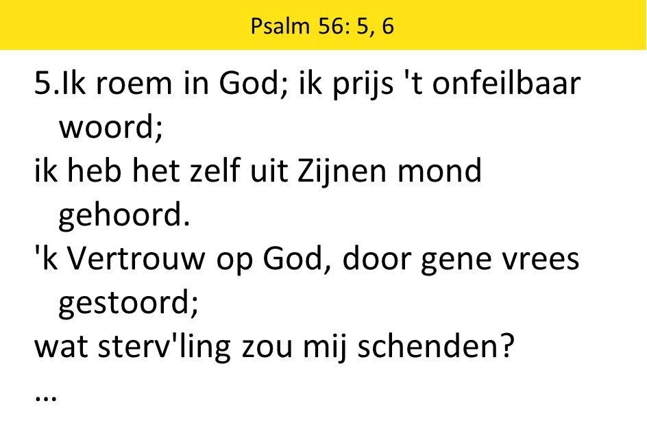 5.Ik roem in God; ik prijs t onfeilbaar woord;