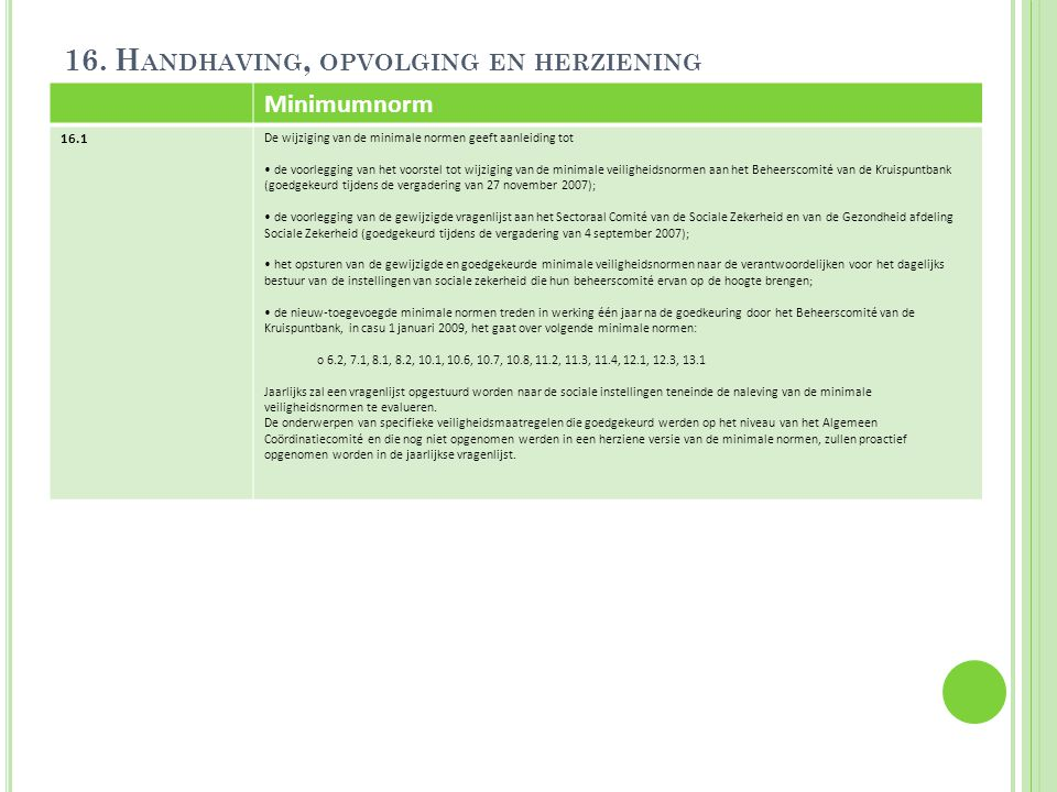 16. Handhaving, opvolging en herziening